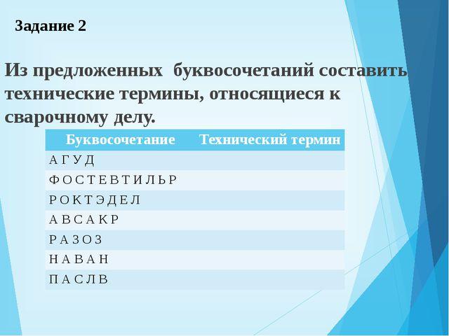 Задание 2 Из предложенных буквосочетаний составить технические термины, относ...