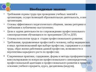Необходимые знания: Требования охраны труда при проведении учебных занятий в