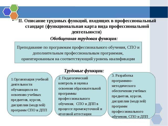 II. Описание трудовых функций, входящих в профессиональный стандарт (функцион...