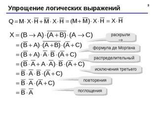 * Упрощение логических выражений раскрыли  формула де Моргана распределитель