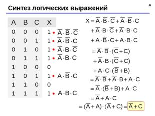 * Синтез логических выражений ABCX 0001 0011 0101 0111 1000