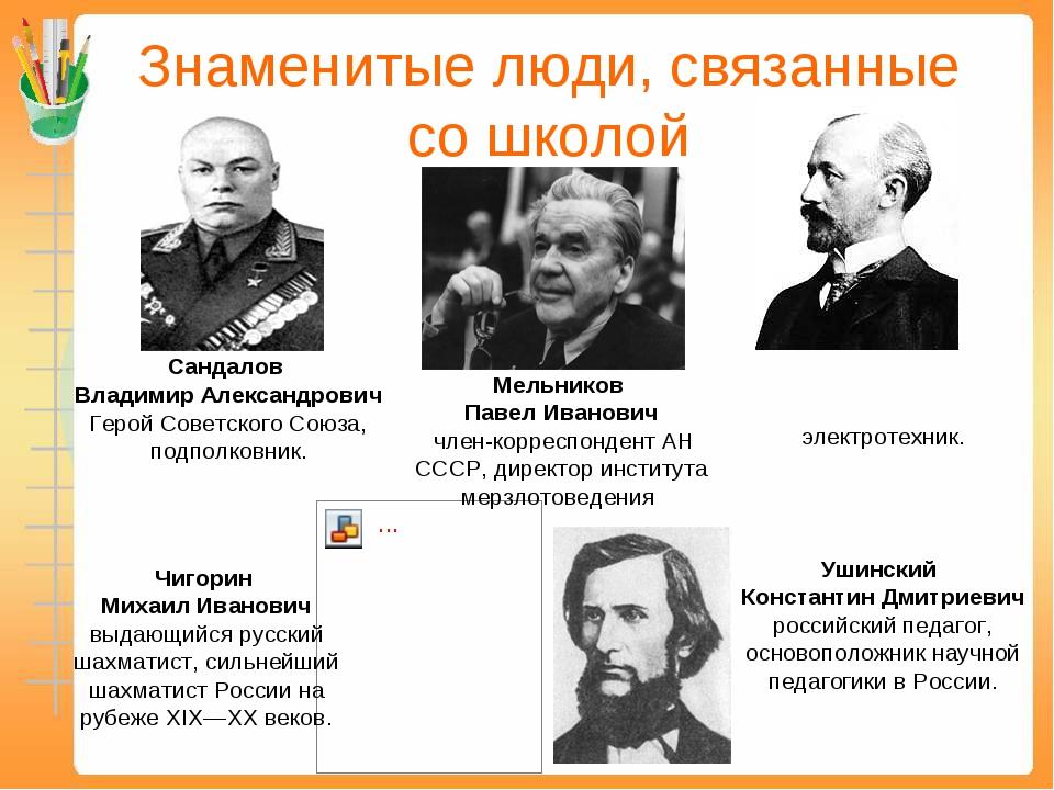 Знаменитые люди, связанные со школой Сандалов Владимир Александрович Герой Со...