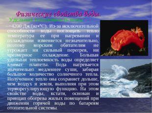 Физические свойства воды. Удельная теплоемкость воды ~4200 Дж/(кг•°С). Из-за