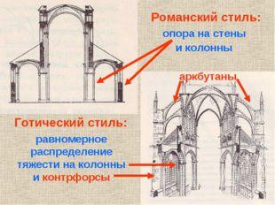 Романский стиль: Готический стиль: опора на стены и колонны равномерное распр