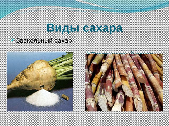 Виды сахара Свекольный сахар Тростниковый сахар