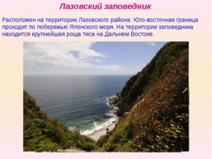 Лазовский заповедник Расположен на территории Лазовского района. Юго-восточна