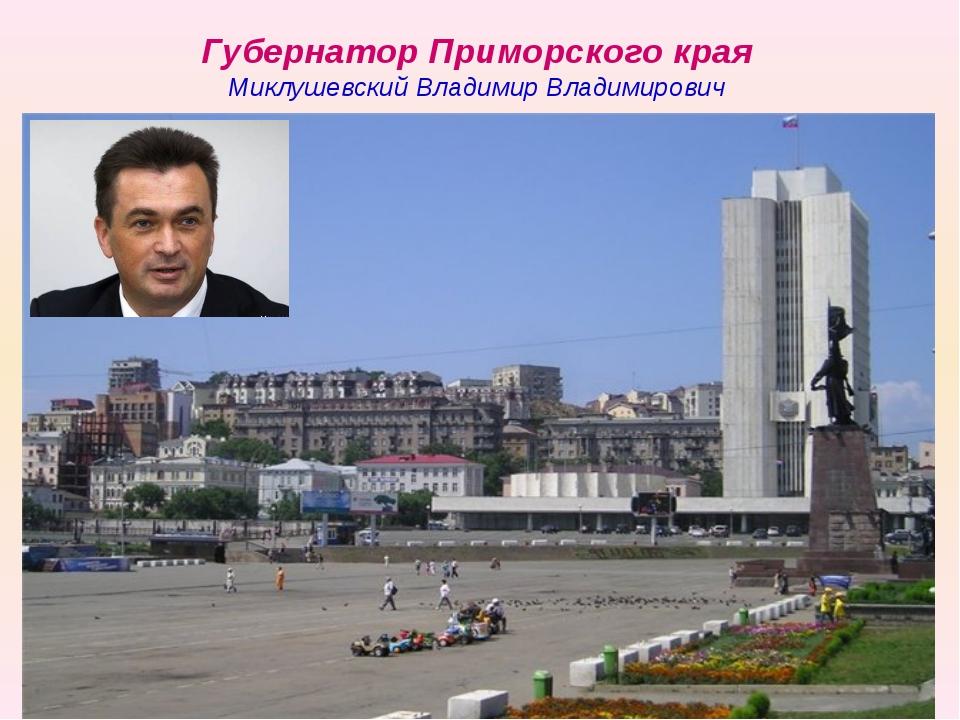 Губернатор Приморского края Миклушевский Владимир Владимирович