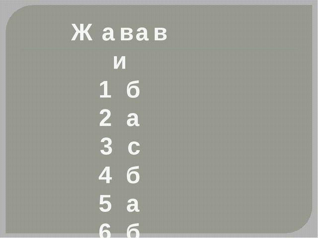 Жавави 1 б 2 а 3 с 4 б 5 а 6 б