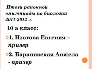 Итоги районной олимпиады по биологии 2011-2012 г. 10 а класс: 1. Изотова Евг