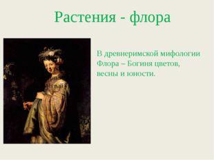 Растения - флора В древнеримской мифологии Флора – Богиня цветов, весны и юн