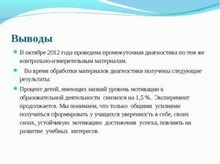Выводы В октябре 2012 года проведена промежуточная диагностика по тем же конт
