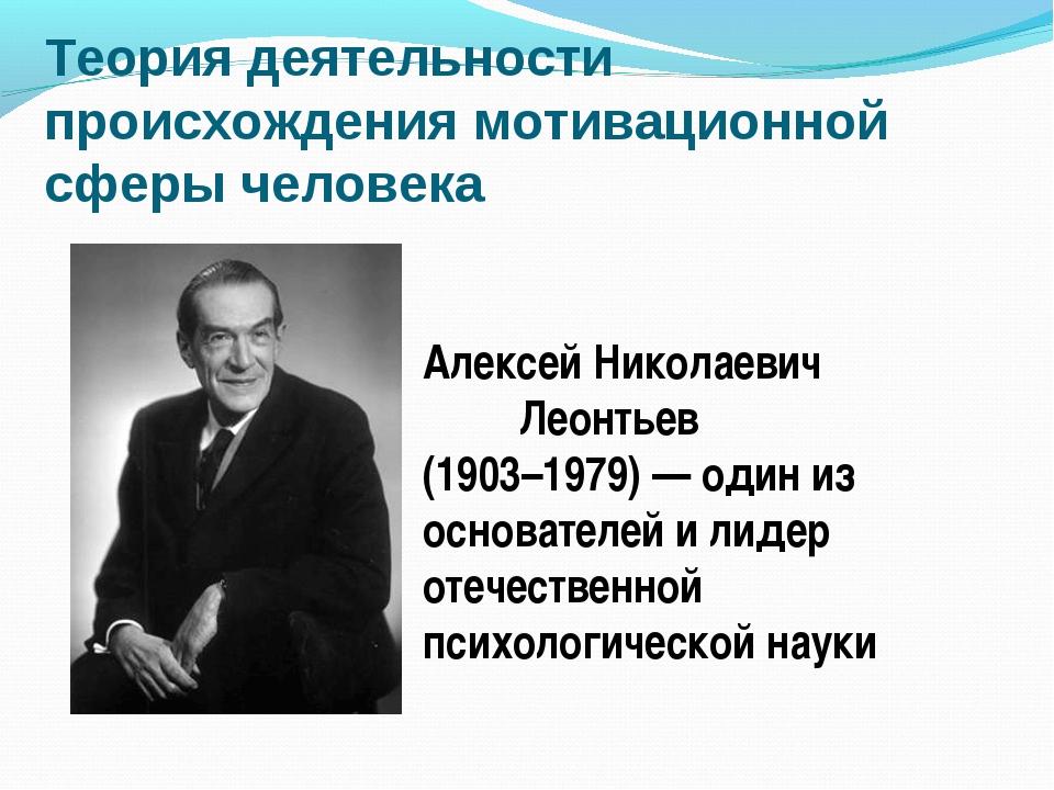 Теория деятельности происхождения мотивационной сферы человека Алексей Никола...
