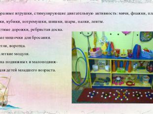 • Разнообразные игрушки, стимулирующие двигательную активность: мячи, флажки,