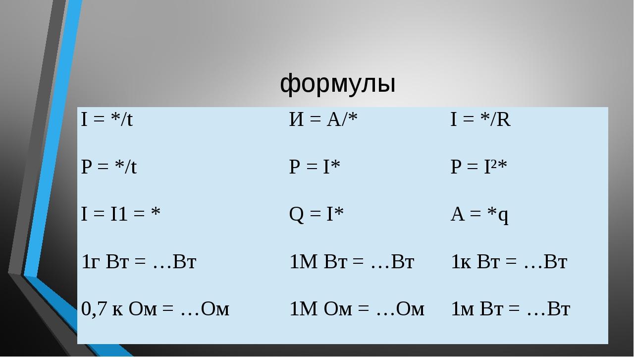 формулы I = */t И = А/* I = */R P = */t Р =I* P = I²* I = I1 = * Q = I* A = *...