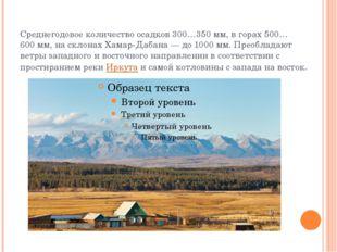 Среднегодовое количество осадков 300…350мм, в горах 500…600мм, на склонах Х