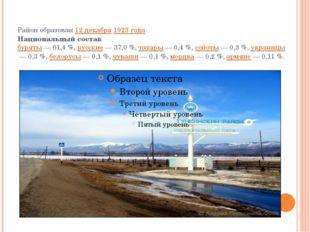 Район образован12 декабря1923 года. Национальный состав буряты— 61,4%,р