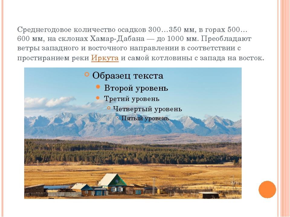 Среднегодовое количество осадков 300…350мм, в горах 500…600мм, на склонах Х...
