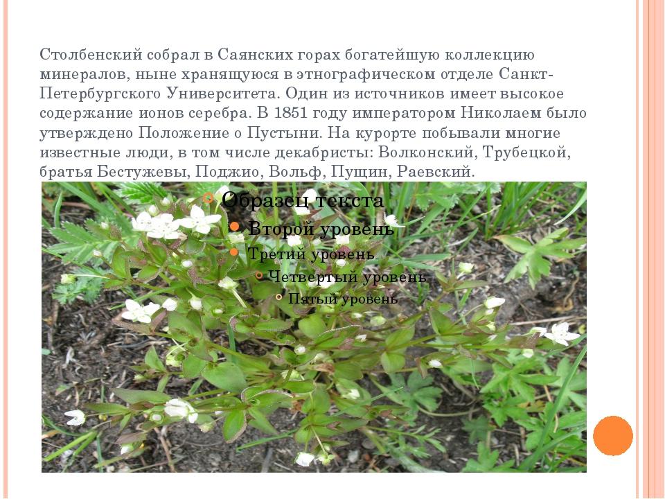 Столбенский собрал в Саянских горах богатейшую коллекцию минералов, ныне хран...