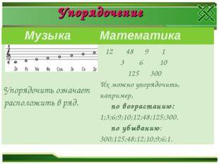 Упорядочение Музыка Математика Упорядочить означает расположить в ряд. 12 4