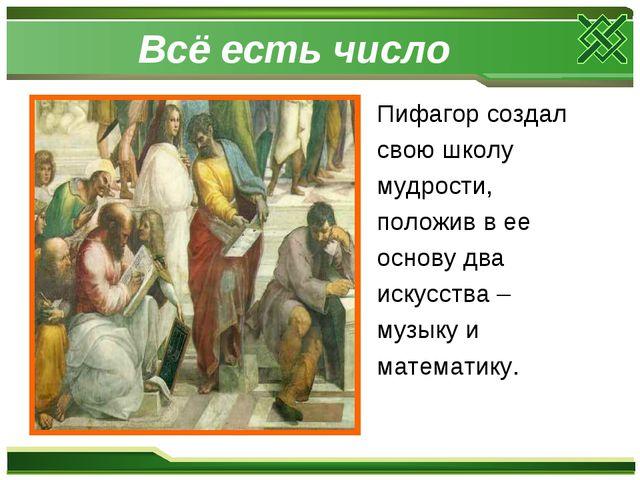 Всё есть число Пифагор создал свою школу мудрости, положив в ее основу два ис...