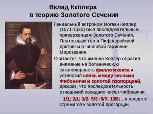 Вклад Кеплера в теорию Золотого Сечения Гениальный астроном Иоганн Кеплер (15
