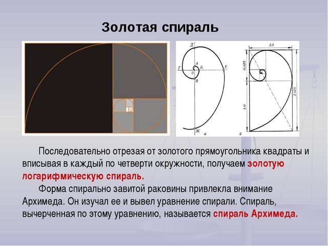 Последовательно отрезая от золотого прямоугольника квадраты и вписывая в кажд...
