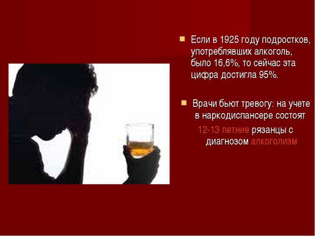 Если в 1925 году подростков, употреблявших алкоголь, было 16,6%, то сейчас эт...