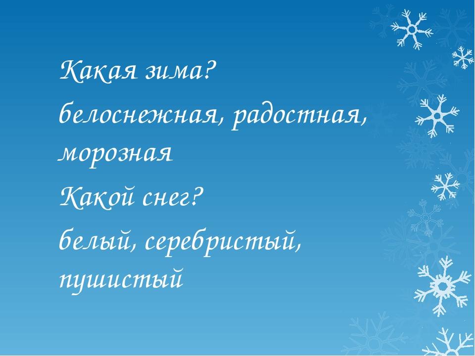 Какая зима? белоснежная, радостная, морозная Какой снег? белый, серебристый,...