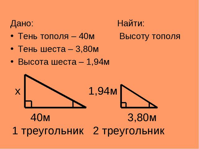 x 1,94м 40м 3,80м 1 треугольник 2 треугольник Дано: Найти: Тень тополя – 40м...