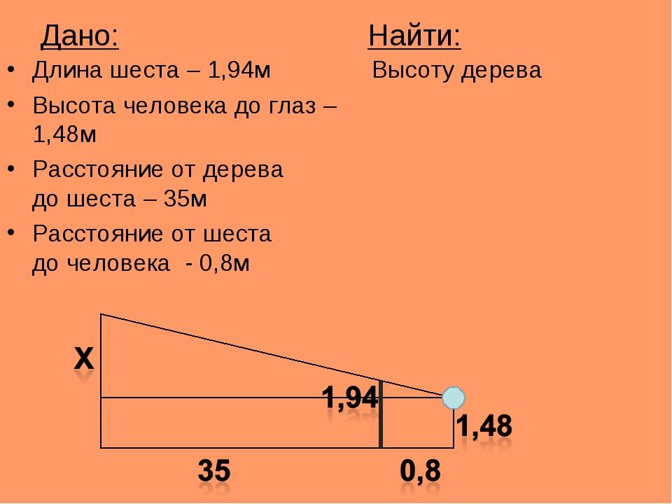 Дано: Найти: Длина шеста – 1,94м Высоту дерева Высота человека до глаз – 1,48...