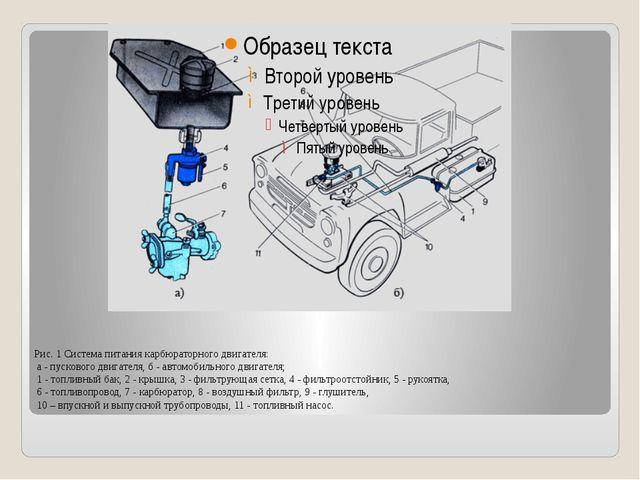Рис. 1 Система питания карбюраторного двигателя: а - пускового двигателя, б -...