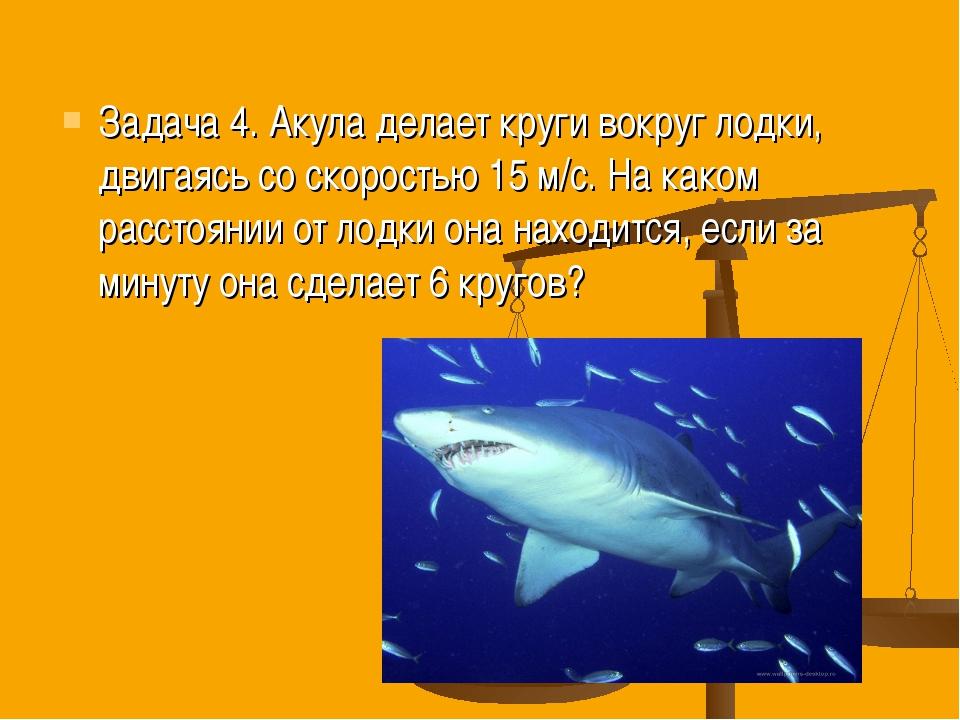 Задача 4. Акула делает круги вокруг лодки, двигаясь со скоростью 15 м/с. На к...