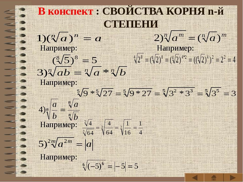 В конспект : СВОЙСТВА КОРНЯ n-й СТЕПЕНИ Например: Например: Например: Наприм...