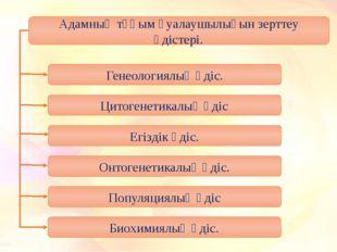 Адамның тұқым қуалаушылығын зерттеу әдістері. Генеологиялық әдіс. Цитогенетик