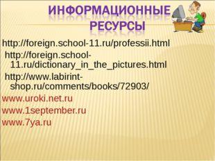 http://foreign.school-11.ru/professii.html http://foreign.school- 11.ru/dict