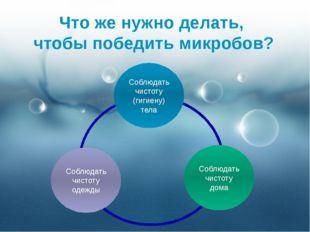 Что же нужно делать, чтобы победить микробов? Соблюдать чистоту (гигиену) тел