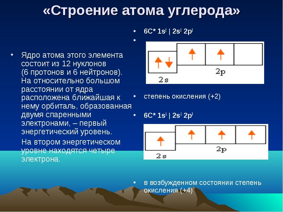 «Строение атома углерода» Ядро атома этого элемента состоит из 12 нуклонов (6...