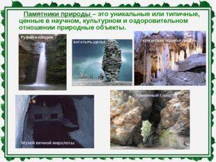 Памятники природы – это уникальные или типичные, ценные в научном, культурном
