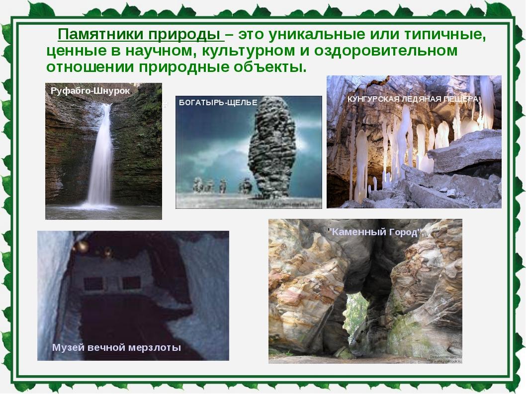Памятники природы – это уникальные или типичные, ценные в научном, культурном...