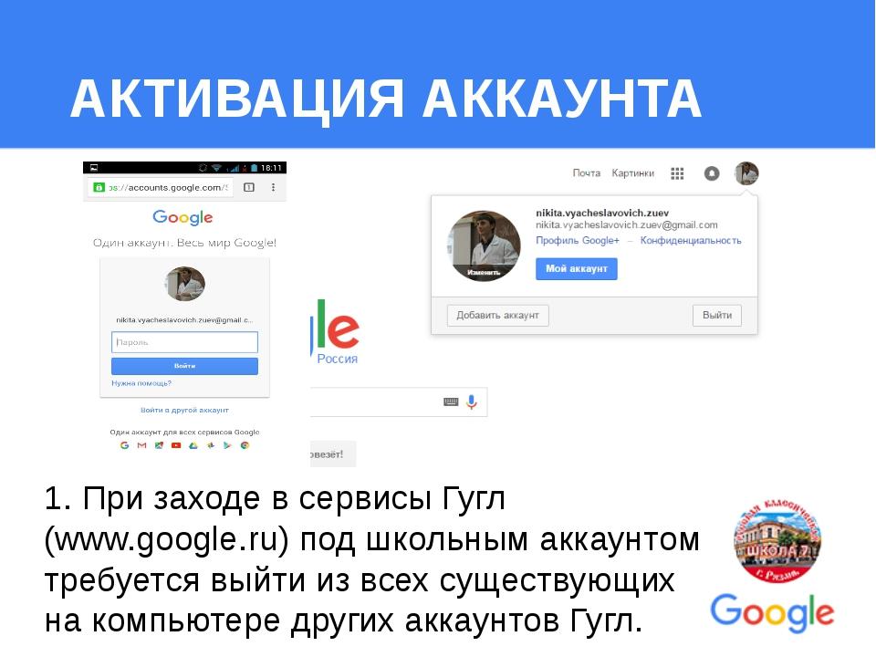 АКТИВАЦИЯ АККАУНТА 1. При заходе в сервисы Гугл (www.google.ru) под школьным...