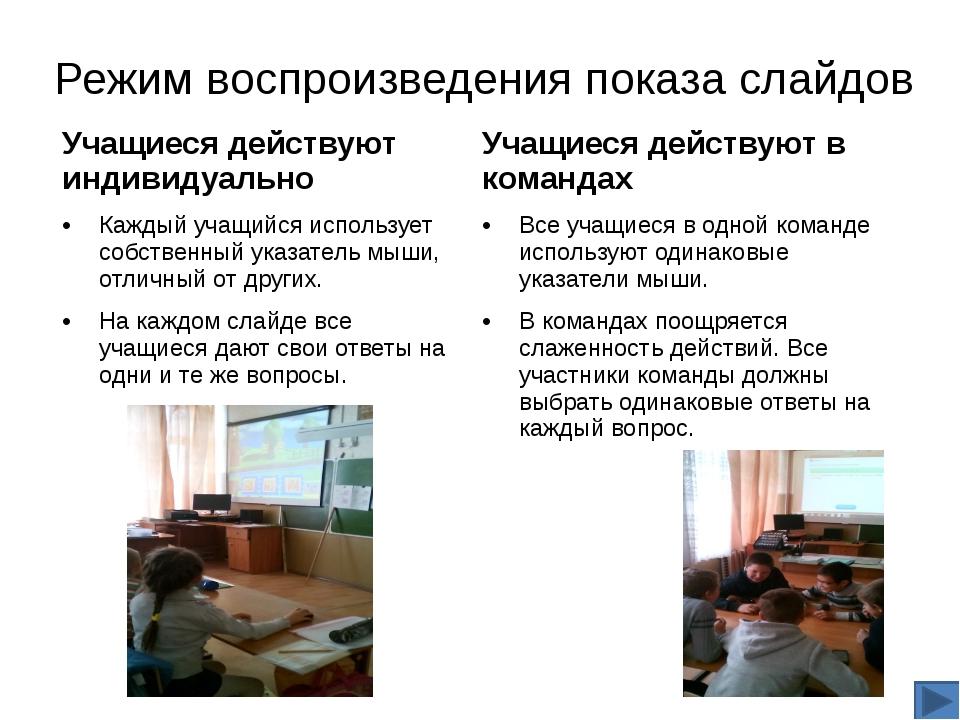 Если выбран Индивидуальный режим, для участия в действии каждый учащийся щелк...