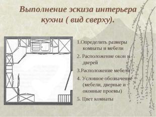Выполнение эскиза интерьера кухни ( вид сверху). 1.Определить размеры комнаты