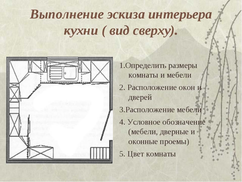 Выполнение эскиза интерьера кухни ( вид сверху). 1.Определить размеры комнаты...