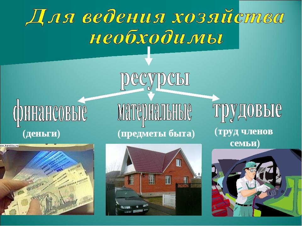 (деньги) (предметы быта) (труд членов семьи)
