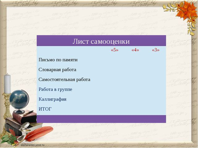 Лист самооценки «5» «4» «3» Письмо по памяти Словарнаяработа Самостоятельная...