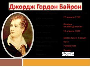 Имя при рождении:George Gordon Byron Дата рождения:22января 1788 (1788-01-