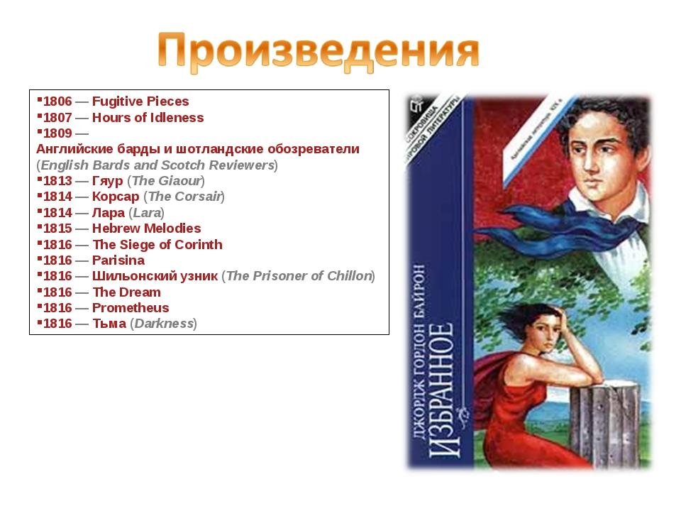 1806— Fugitive Pieces 1807— Hours of Idleness 1809— Английские барды и шот...