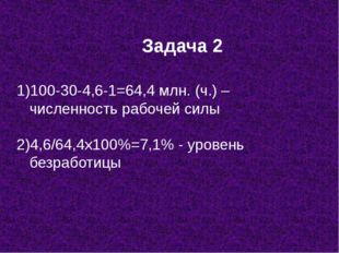 Задача 2 100-30-4,6-1=64,4 млн. (ч.) – численность рабочей силы 2)4,6/64,4х10
