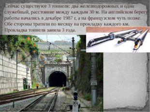 Сейчас существуют 3 тоннеля: два железнодорожных и один служебный, расстояние