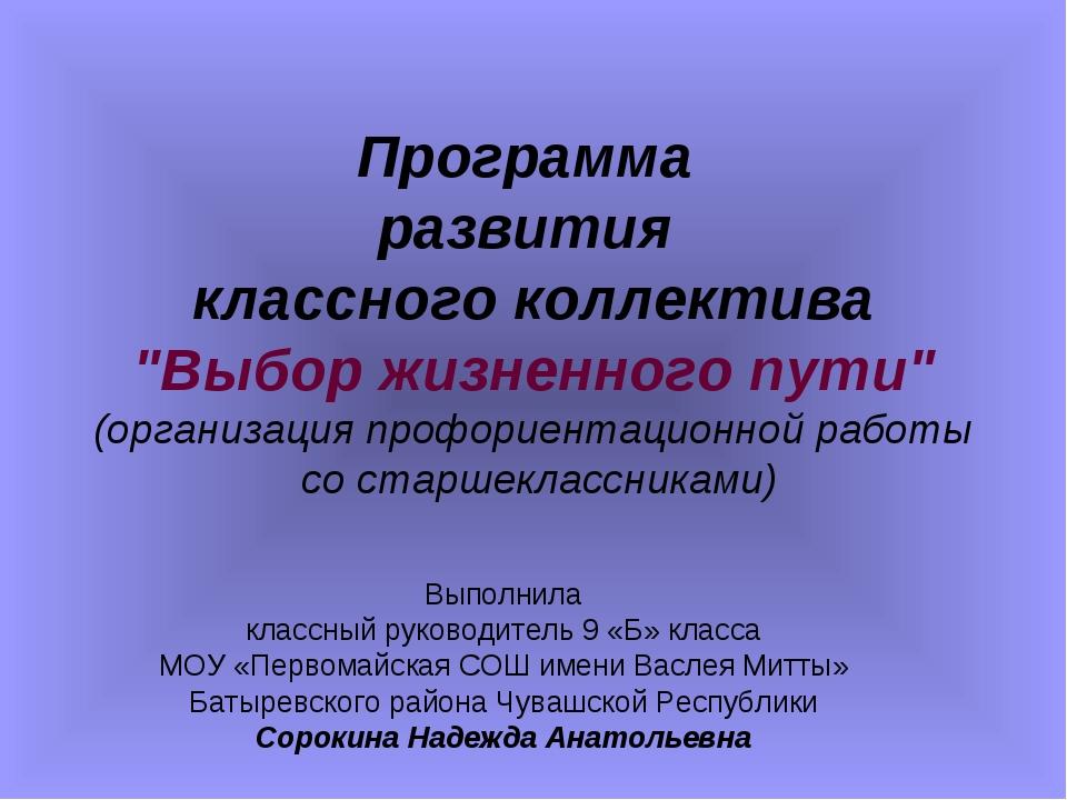 """Программа развития классного коллектива """"Выбор жизненного пути"""" (организация..."""